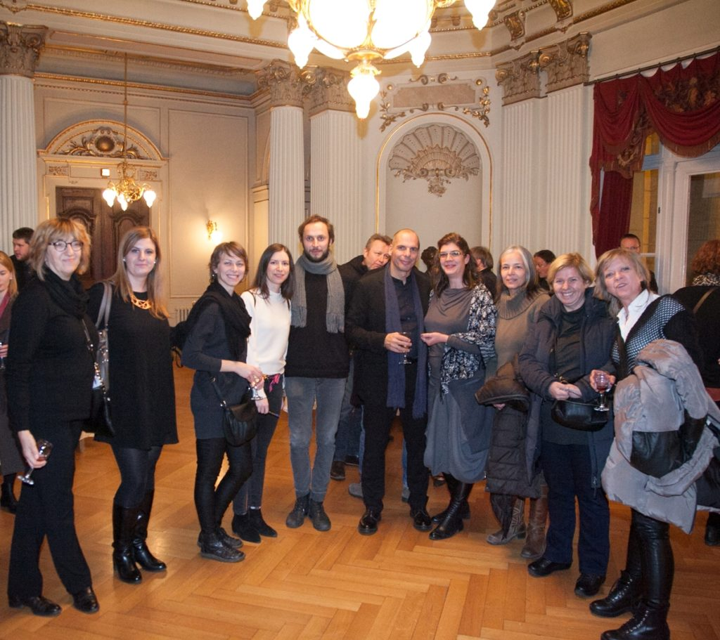 Croatian National Theatre, Philosophical theatre, Dec 4th 2016, Yanis Varoufakis and Srećko Horvat with Belgrade and Zagreb DiEM25 members
