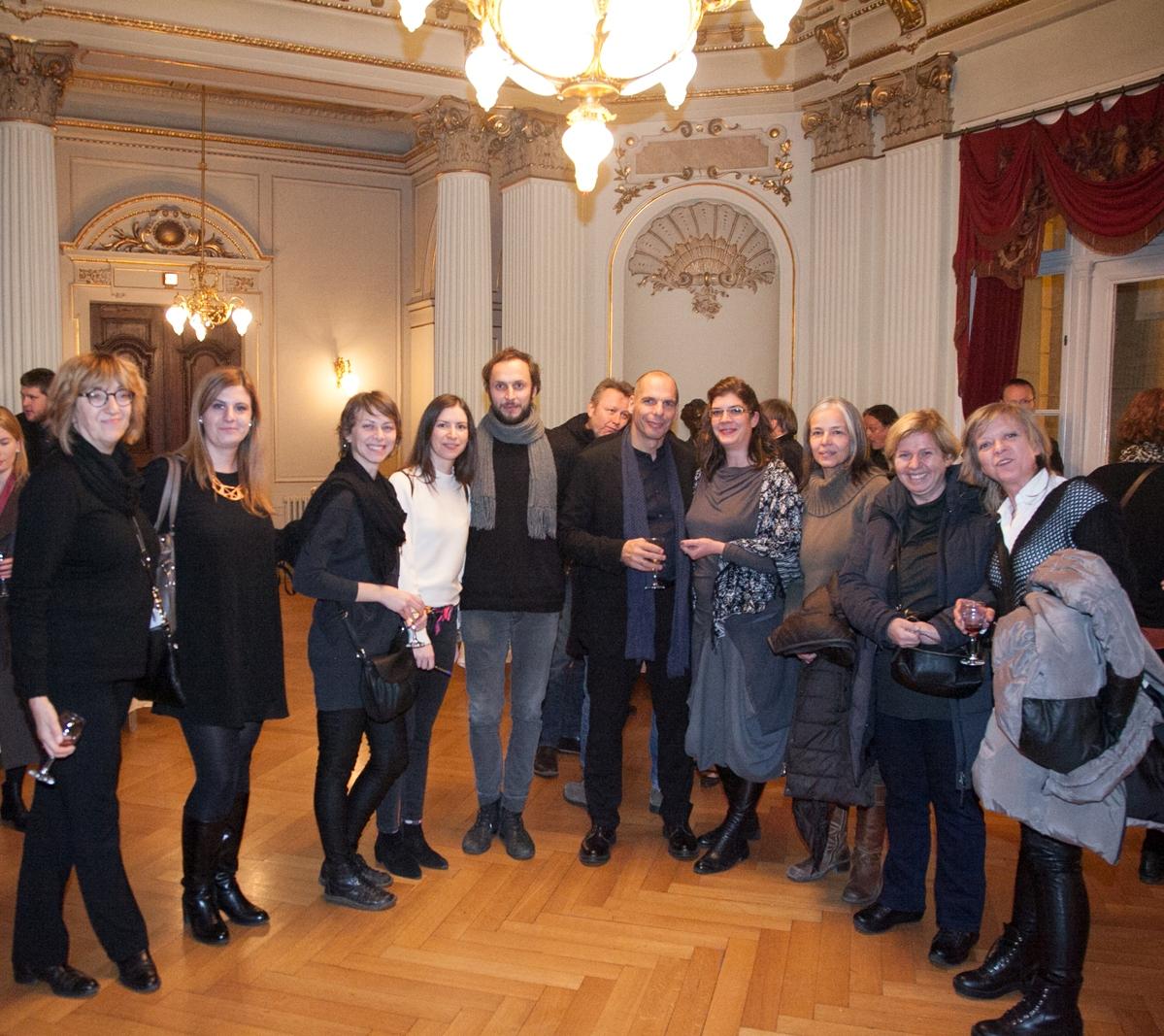 Croatian National Theatre, Philosophical theatre, Dec 4th 2016, Yanis Varoufakis and Srećko Horvat with Belgrade and Zagreb DiEM25 members