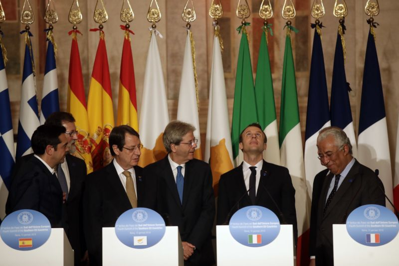 Southern European meeting is taking place at Villa Madama in Rome with leaders of Cyprus, France, Greece, Italy, Malta, Portugal and Spain. (AP Photo/Alessandra Tarantino)