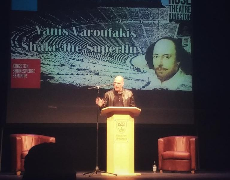 Yanis Varoufakis gives Kingston University's 6th annual Shakespeare lecture at the Rose Theatre