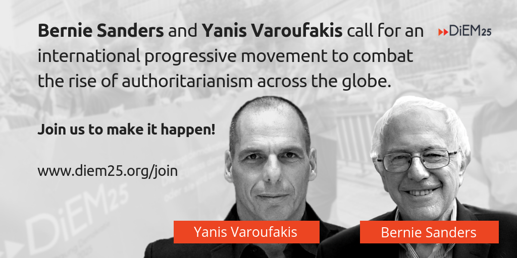 Bernie Sanders and Yanis Varoufakis call on progressives to unite against Trump's Nationalist International