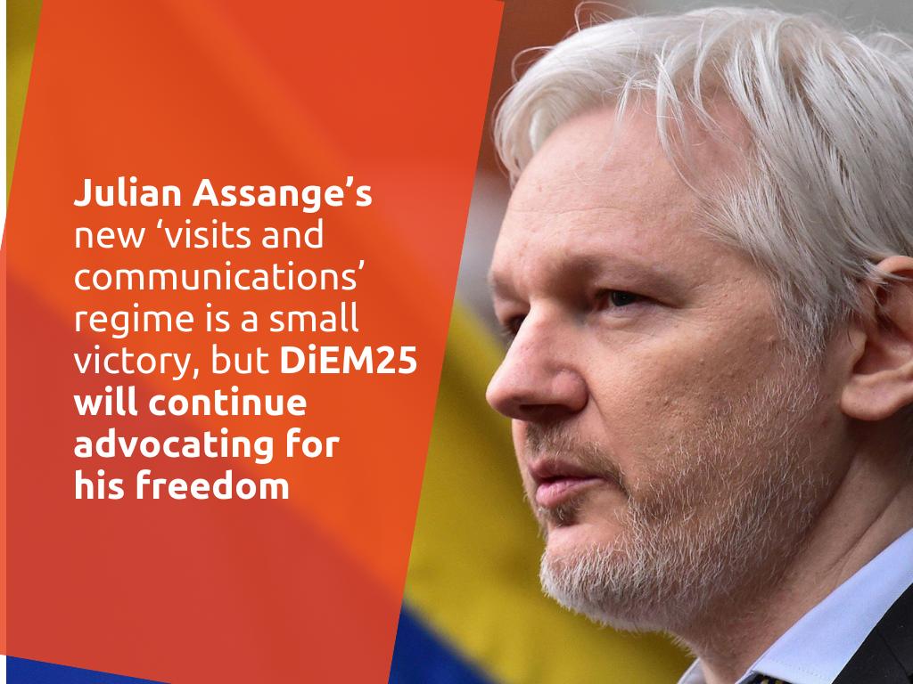 """El nuevo régimen de """"visitas y comunicaciones"""" de Julian Assange es una pequeña victoria, pero DiEM25 continuará presionando por su libertad"""