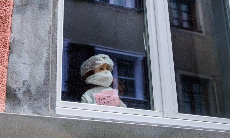 Girl with mask on window